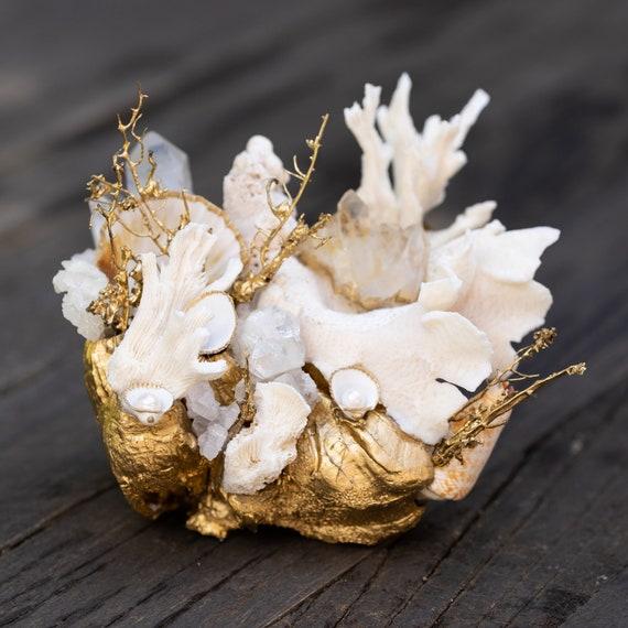 Sea garden in gold and white, seashell decor, seashells, home decor, shells in home decor, coastal decor, coastal farmhouse
