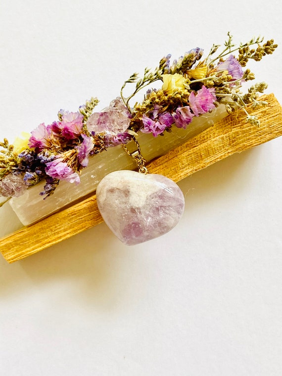 Palo santo, selenite, amethyst heart pendant gift set, Palo Santo, reiki, spiritual gifts, palo santo bundle, crystal, valentines heart
