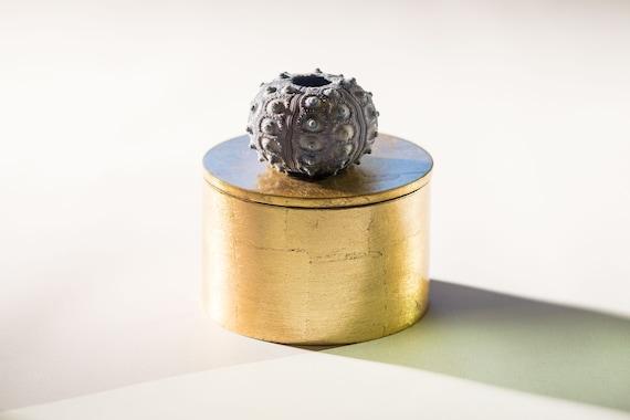 Round Gold Box with Blue Seashell, Coastal Home Decor, Orange Lacquer box, Jewelry Box