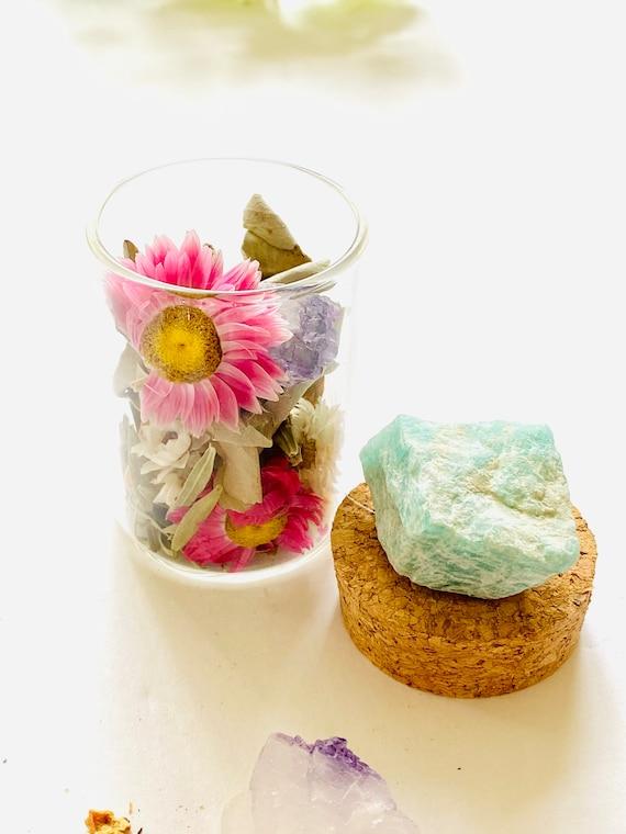 Amazonite Medicine Pots with Quartz, Fluorite, Palo Santo incense, crystal jar, Palo Santo, Quartz, pill box, diffuser, wellness gift, Gifts