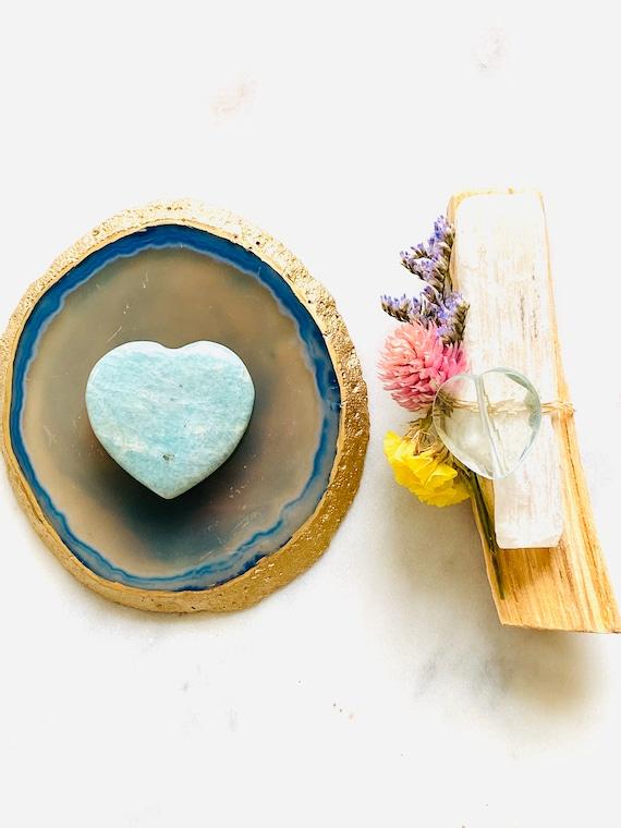 Palo Santo gift set, reiki gifts,  wellness gifts, palo santo, agate tray, crystal gifts, crystal heart, selenite Stick, Agate 2