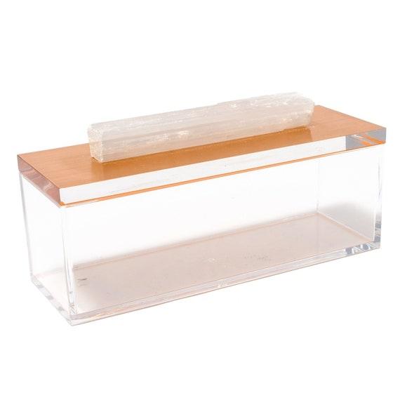 Acrylic Rose Gold Box w/ Selenite Crystal