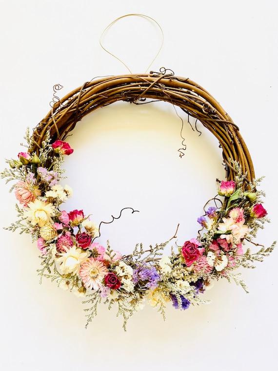 "Botanical wreath w/ dried flowers and herbs, dried flower wreath, flower wreath, dried flowers, 10"" wreath, Fall Wreath, straw flower wreath"