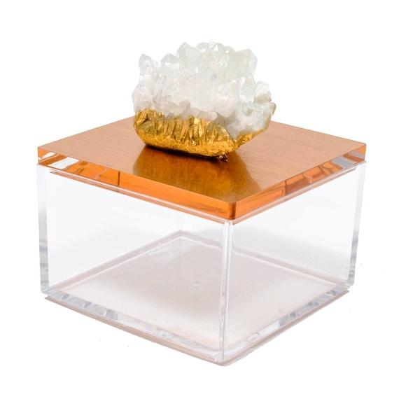 Metallic Rose Gold Gem Box w/ Himalayan Crystal
