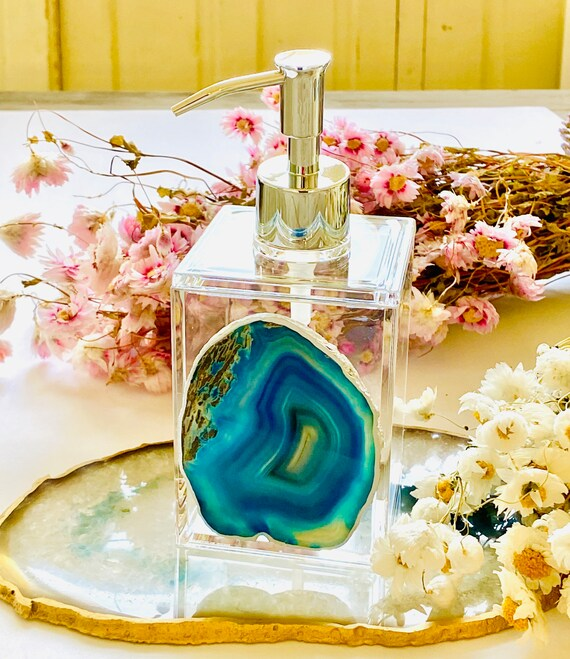 Acrylic Soap Dispenser w/ Teal Agate