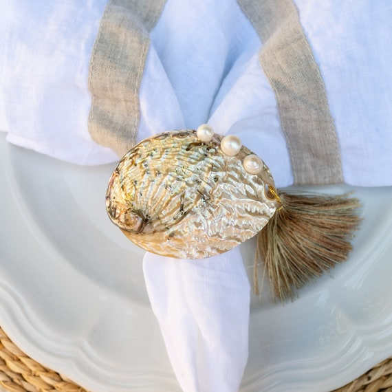 Abalone and Pearl Napkin Rings (Set of 4)