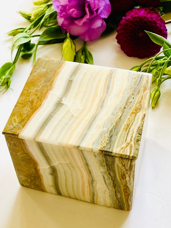 Onyx Box, Jewelry box, Urn, Stone Box, Vintage stone box, Calcite box, gift box, Wedding gift box,
