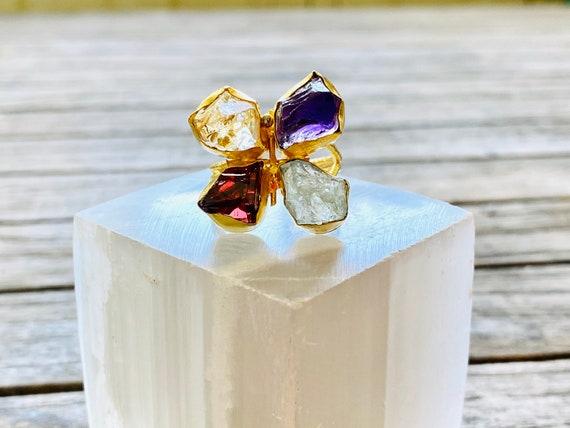 Rough Raw Gemstone Adjustable  Ring, gemstone ring, birthstone ring, boho ring, adjustable ring, amethyst ring, Raw Gemstone Ring, Ring