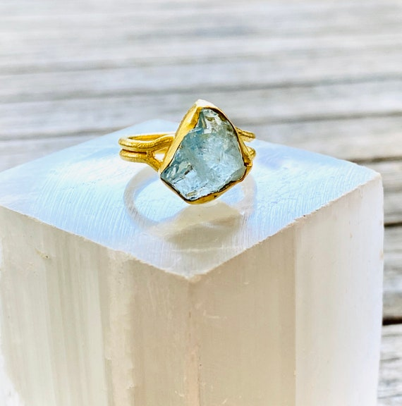Rough Raw Uncut Gemstone Adjustable Ring, gemstone ring, birthstone ring, boho ring, adjustable ring, aquamarine ring, boho ring, ring