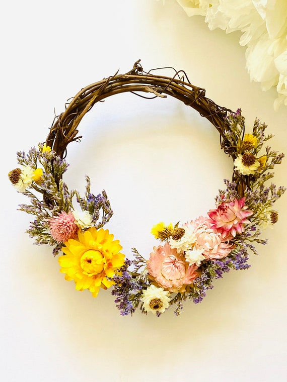Botanical wreath w/ dried flowers and herbs, dried flower wreath, flower wreath, dried flowers, wreath, Spring wreath