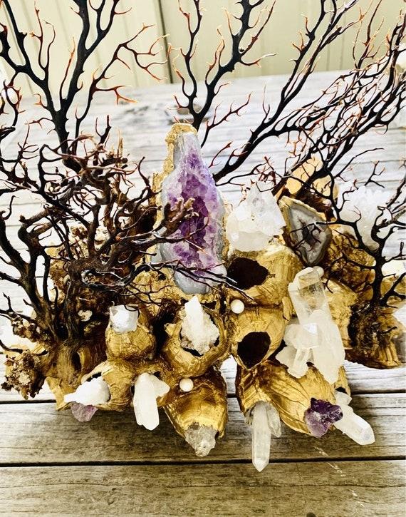 Sea garden gold barnacle, Seascape, Seashell Decor, Coastal Home Decor