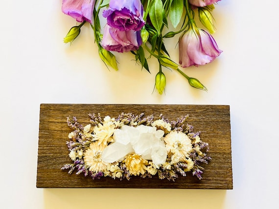 Wood Box w/ dried flowers and crystals, wood box, wood desk decor, wood jewelry box, wood office decor, Crystal box, ring box