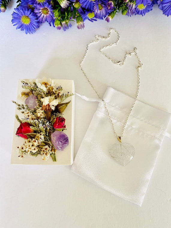 Crystal Gift Box with Heart Necklace, Heart necklace, Get Well Soon Crystal Gift Box, gemstone heart, Wellness Crystal Gift Box, Quartz