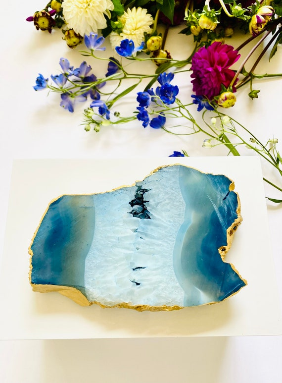 White Remote Lacquer Box with thick blue agate, Agate Box, Blue Agate Box, Remote Box, Extra large box, Blue agate remote box, Gift Box