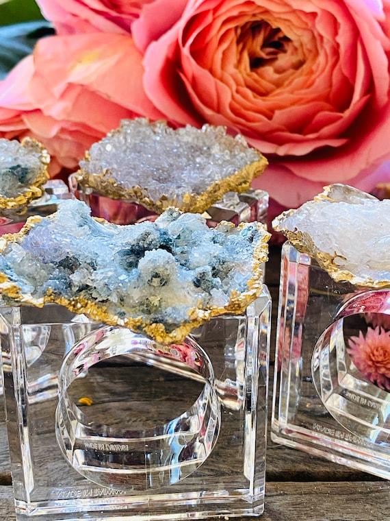 Amethyst flower napkin rings (set of 4), amethyst napkin rings, crystal napkin rings, tabletop decor, home decor, acrylic napkin rings
