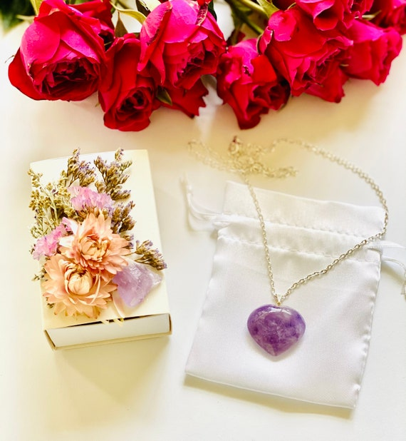 Crystal Gift Box with Heart Necklace, Amethyst Heart , Get Well Soon Crystal Gift Box, gemstone heart, Wellness Crystal Gift Box, Amethyst