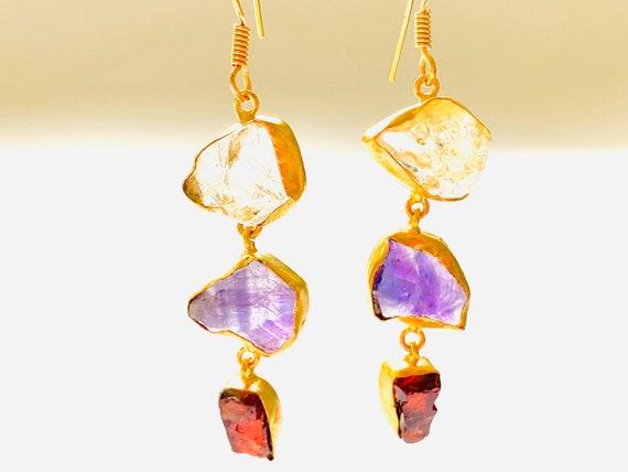 Multi Gemstone Earrings, Citrine earrings, Crystal Earrings, Amethyst Crystal, OOAK, Garnet Jewelry, Birthstone Jewelry, dangle Earrings