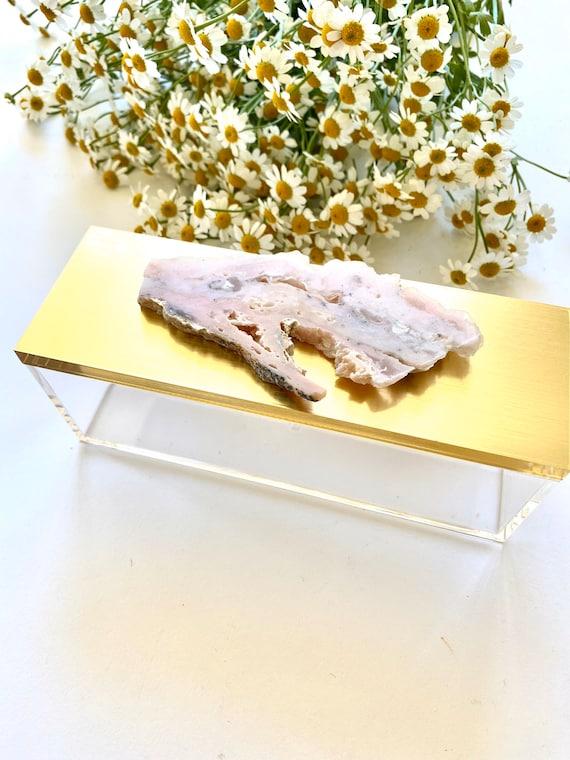Acrylic gold box w/ pink opal, Jewelry box, Make-up box, Brush box, Ring box, Pink opal and gold box