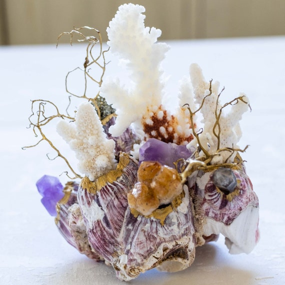 Sea Barnacle Gemstone Sea Garden Object Amethyst and Citrine