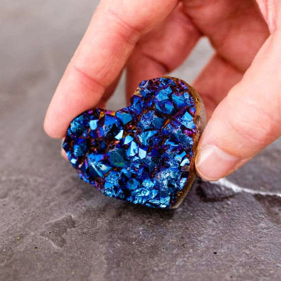 Druzy Blue Titanium Heart, Metallic Heart, Blue Heart, stone heart, Crystal Heart, Rock Heart