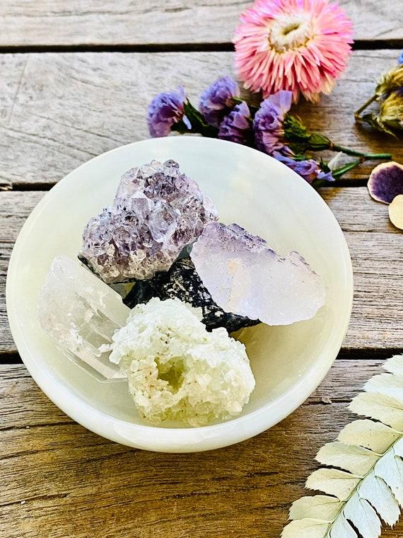 Onyx bowl, charging bowl, healing crystals gift bowl, potpourri gemstone, amethyst, celestite, fluroite, quartz, healing crystals, potpourri