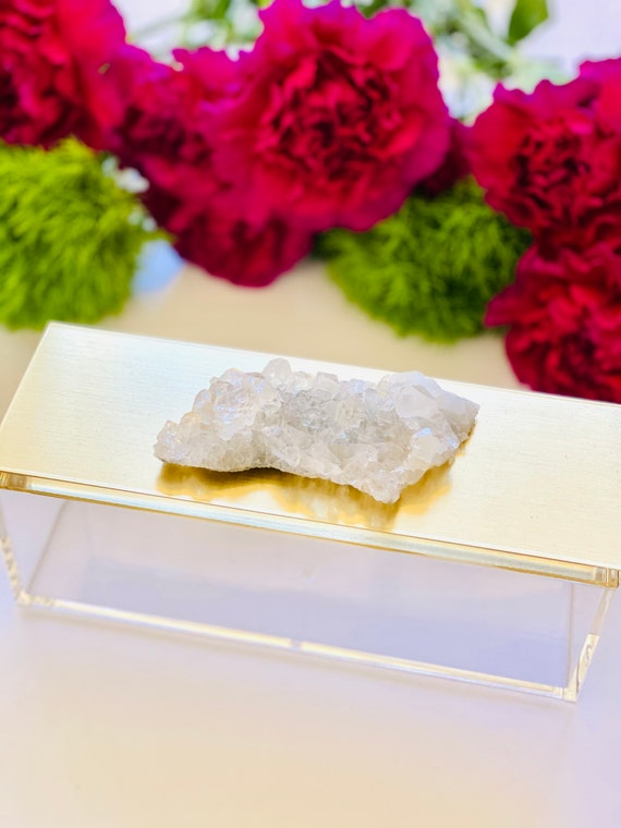 Acrylic gold box with quartz crystal, crystal box, wellness gifts, jewelry box, geode box, ring box, gifts for her, watch box, gold box