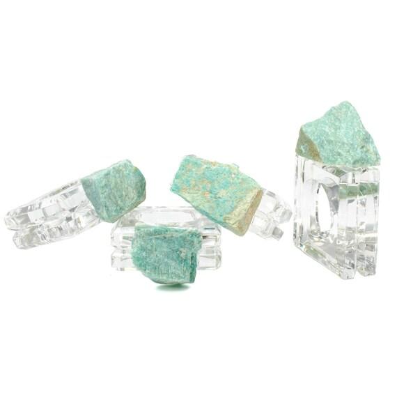 Amazonite napkin rings (set of 4), Acrylic Napkin Rings, Amazonite home decor, Table decor, Acrylic napkin rings