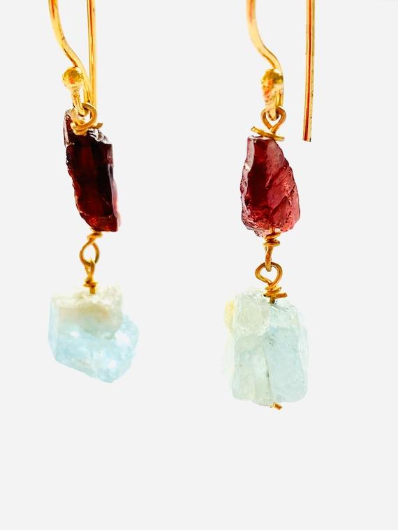 Gemstone Earrings, Garnet and Aquamarine earrings, Crystal Earrings, Garnet Earrings, OOAK, Aquamarine Jewelry, Birthstone Jewelry, Garnet