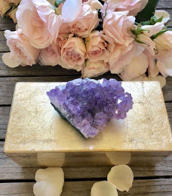 Gold Lacquer Box with Amethyst, Gemstone box, amethyst box, gift box