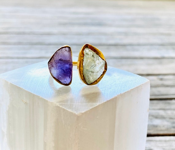 Gemstone amethyst and Aquamarine Adjustable  Ring, Boho ring jewelry, amethyst ring, gemstone ring, adjustable rings, aquamarine ring
