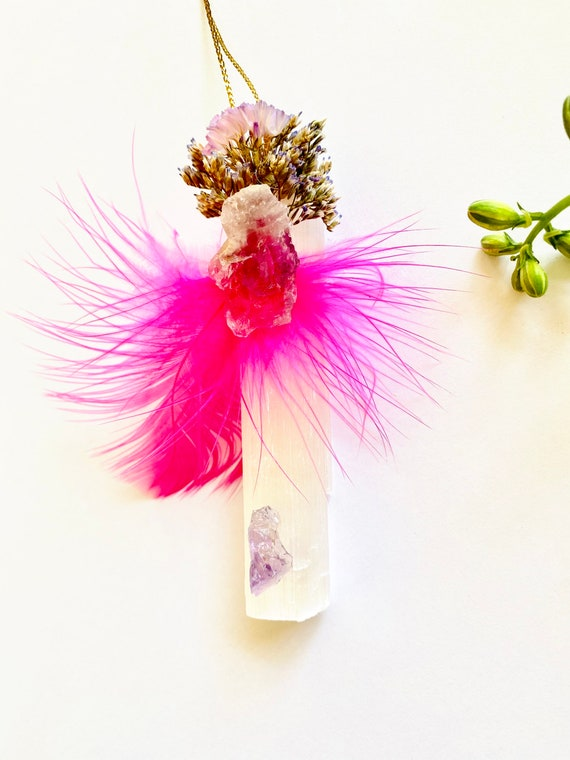 Selenite Ornament with Strawflowers and feathers, Enchanted Forest ornament, Selenite, Christmas Ornaments, wildflowers ornament, gifts