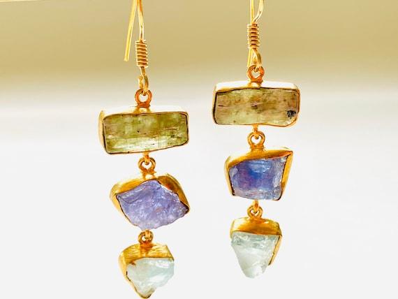 Multi Gemstone Earrings, aquamarine earrings, Crystal Earrings, Amethyst Crystal, OOAK, kyanite Jewelry, Birthstone Jewelry, dangle Earrings