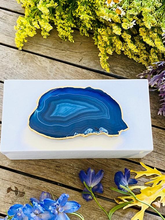 Medium White Lacquer Box with Blue Agate, Storage boxes, Home Decor, Gift Boxes, Agate Box, Gift Box, Bridal Box, Geode Box, Blue Agate