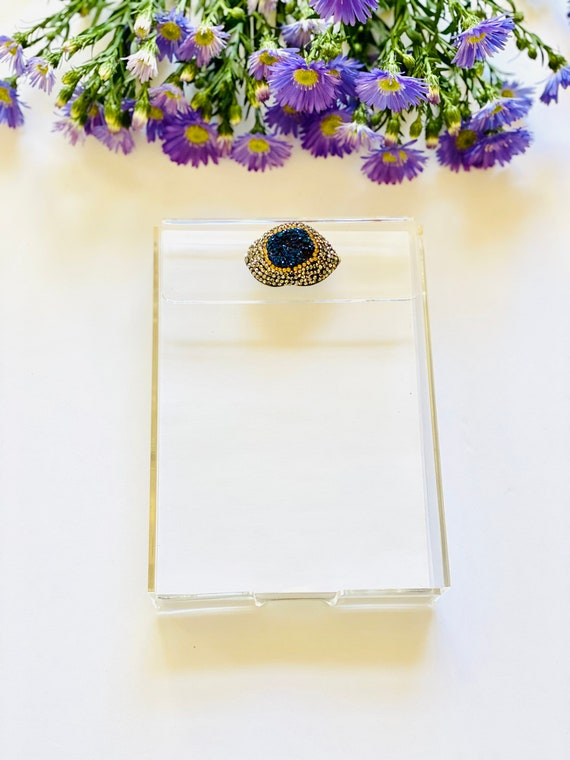 Acrylic Notepad Tray with paper, note pad, notes, pad of paper, evil eye note pad, notepad, desk accessories, Office decor, home decor