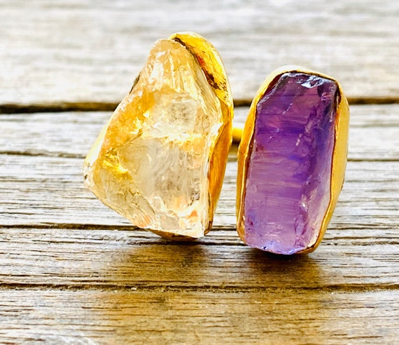 Rough Raw Uncut Gemstone Adjustable  Ring, gemstone ring, birthstone ring, boho ring, adjustable ring, amethyst ring, boho ring, citrine