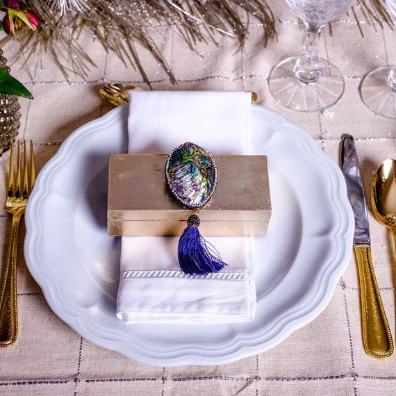 Small gold box abalone shell and tassel, Gold box with Seashell, Seashell Box, Lacquer box with Stone, Wedding Gifts, jewelry box, ring box
