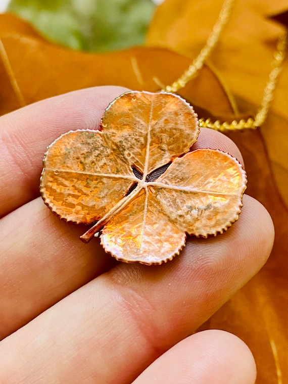 Copper dipped real four leaf clover pendant, Lucky Charm Necklace, Copper Clover Necklace, Wish Necklace, four leaf clover, Lucky Necklace