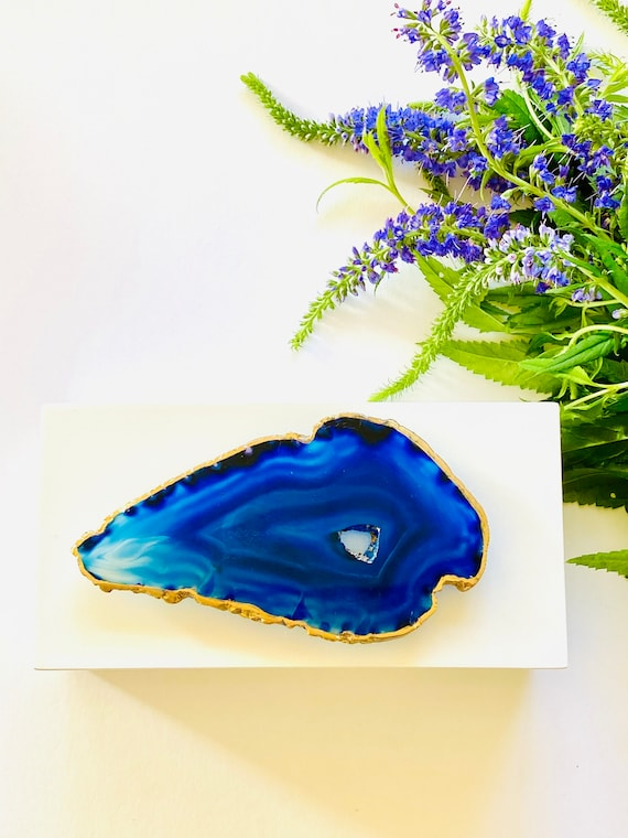 Medium White Lacquer Box with Blue Agate, Storage boxes, Home Decor, Gift Boxes