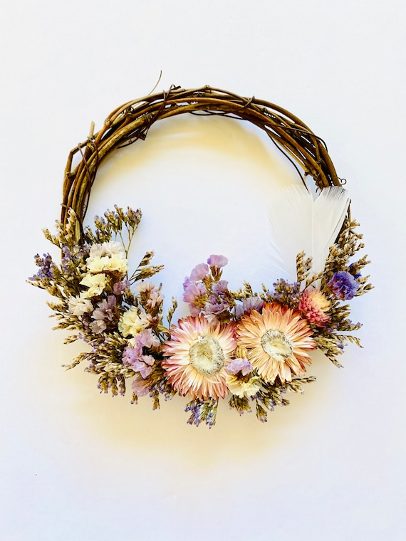 Botanical wreath w/ dried flowers and herbs, dried flower wreath, flower wreath, dried flowers, wreath