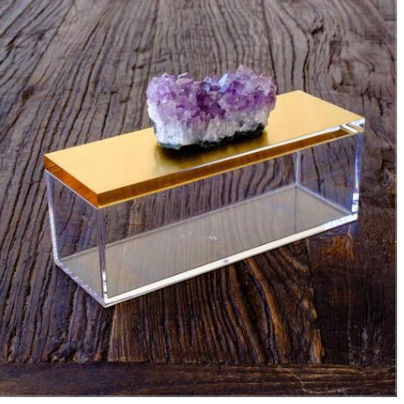 Outstanding Acrylic Gold Box W Amethyst Crystal Home Interior And Landscaping Ferensignezvosmurscom