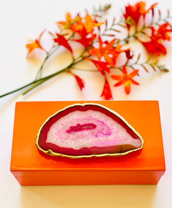 Medium Orange Lacquer Box with Pink Agate, Orange box, Jewelry box, Ring Box, Bridal Gift box, Pink Agate
