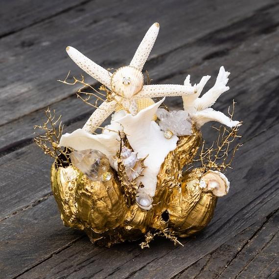Sea garden in gold and white, seashell decor, home decor, seashells,