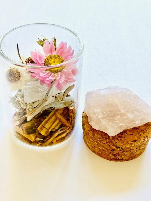 Rose Quartz  Medicine Pots with Quartz, Fluorite, Palo Santo incense, crystal jar, Palo Santo, Quartz, stash box, diffuser, wellness gift