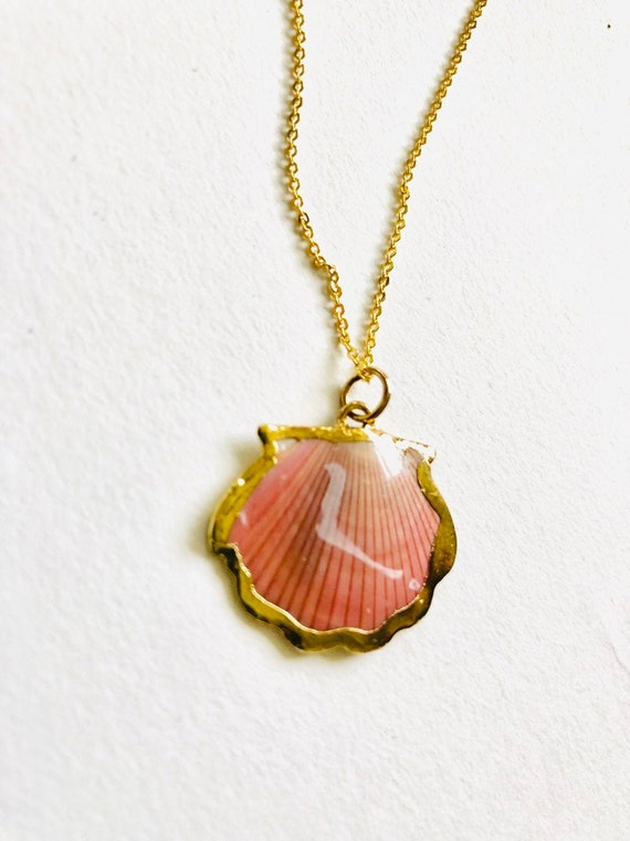 "Gold 24K Plated gold Seashell on a 16"" chain, Seashell Charm Necklace, Seashell Necklace, Seashell, Beach Necklace, Seashell"