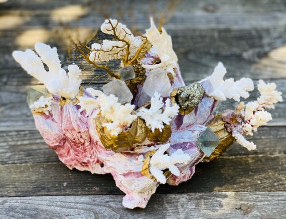 Sea garden gold barnacle, Seascape, Seashell Decor, Coastal Home Decor, mermaid, sea life, beach house decor