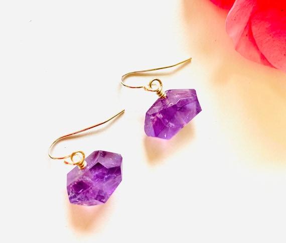 Gemstone Earrings, Amethyst earrings, Purple Crystal Earrings, Amethyst Crystal Earrings, OOAK, Amethyst Jewelry, Birthstone Jewelry