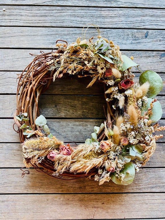 "Botanical wreath with dried flowers and herbs,dried flower wreath, flower wreath, dried flowers, 10"" wreath, Fall Wreath,Straw flower wreath"