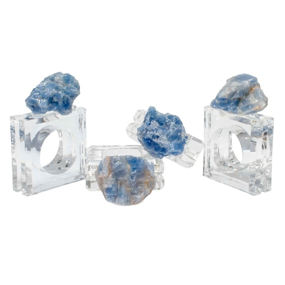 Blue calcite napkin rings (set of 4), Acrylic Napkin Rings, Table Decor, Holiday Table Decor,