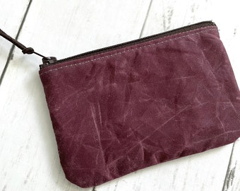 Small Zippered Coin Pouch - Burgandy Waxed Canvas - READY TO SHIP