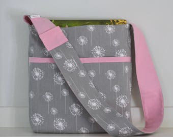THE LIBRARY BAG - Children's Book Tote Bag with Library Card Pocket, Gray Dandelion with Pink - Ready to Ship
